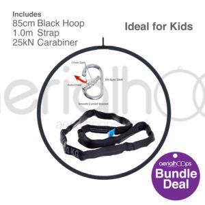85cm aerial hoop lyra circus bundle black