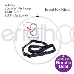 85cm aerial hoop lyra circus bundle white