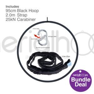 95cm aerial hoop lyra circus bundle black