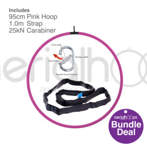95cm aerial hoop lyra circus bundle pink