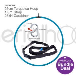 95cm aerial hoop lyra circus bundle turquoise