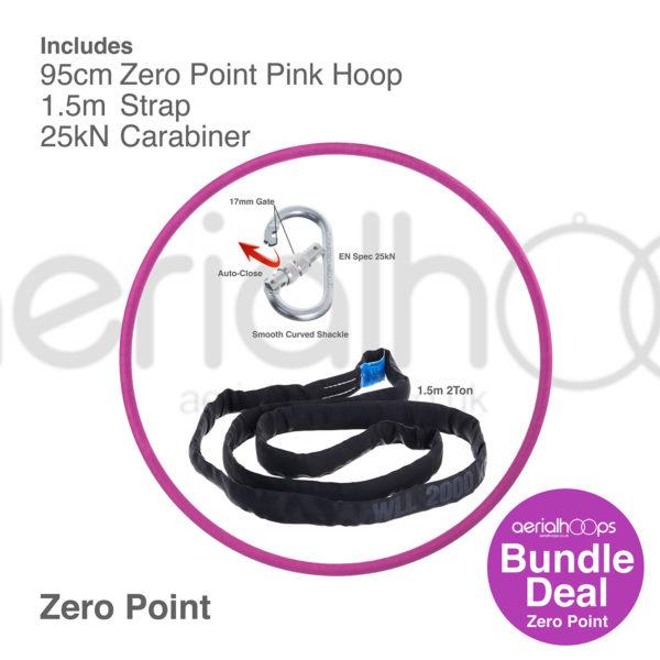 95cm zero point aerial hoop lyra circus bundle pink