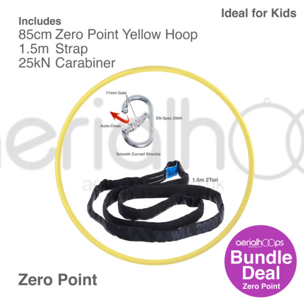 85cm zero point aerial hoop lyra circus bundle yellow